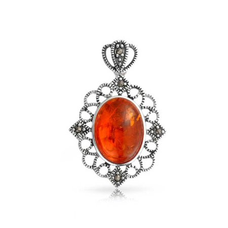 Vintage Style Oval Honey Amber Filigree Marcasite Bezel Set Pendant .925 Sterling Silver 18 Inch Chain