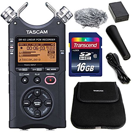 - Tascam DR-40 4-Track Handheld Digital Audio Recorder (Black) with Tascam Handheld DR-Series Recording Accessory Package + 16 GB SDHC + Fibertique Cleaning Cloth