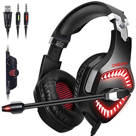 ONIKUMA Gaming Headset PC PS4 Headset for PS4, PC, Xbox One Controller,  Mac, Nintendo Switch ?50mm Driver??7 1 Surround Sound