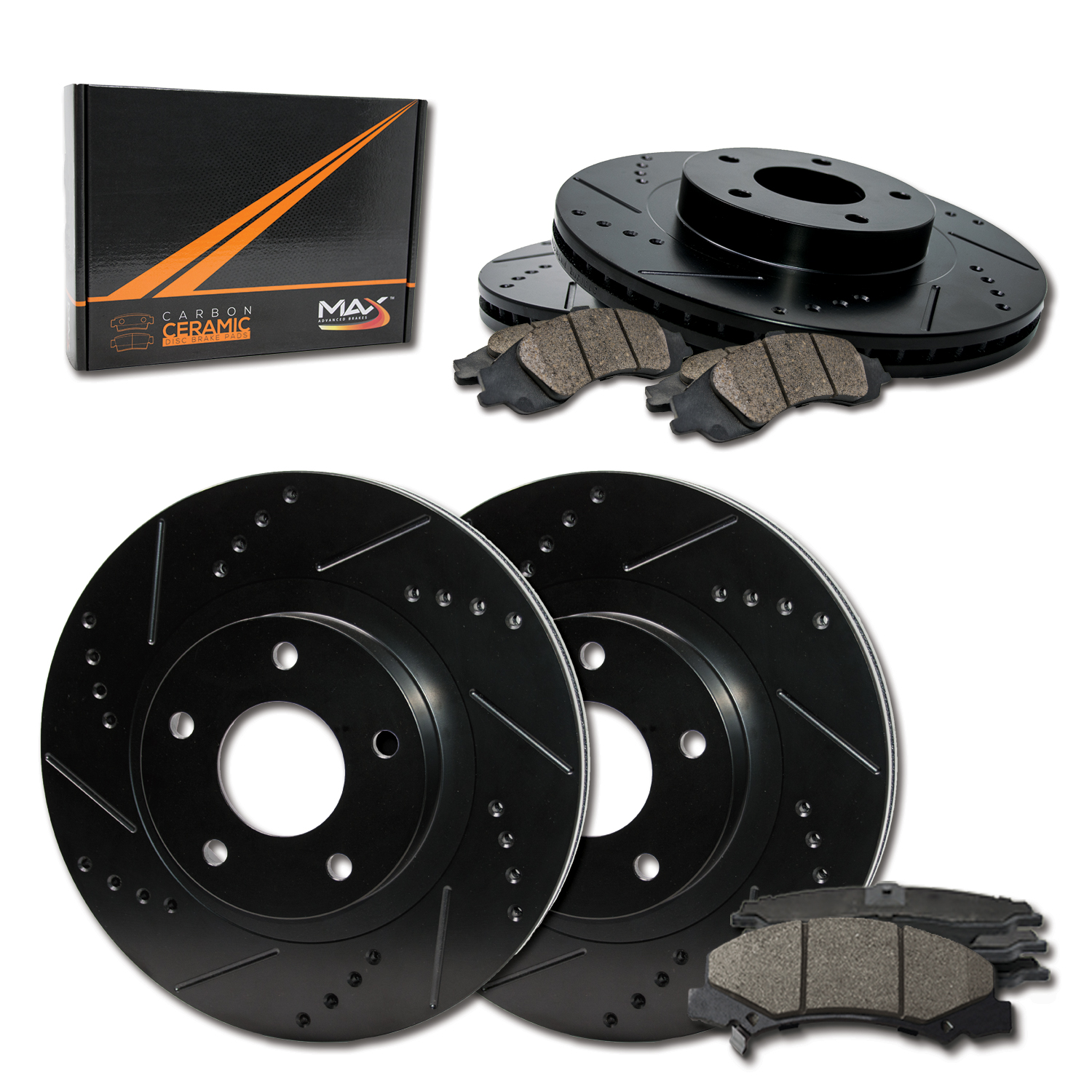 OE Series Rotors + Ceramic Pads Fits: 1999 99 2000 00 2001 01 2002 02 Pontiac Grand Am KM012441 Max Brakes Front Supreme Brake Kit
