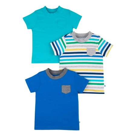 Patagonia Organic Tee (Little Star Organic Short Sleeve Pure Organic True Brights Shirts, Pocket Tee, 3 pack (Baby Boys & Toddler)
