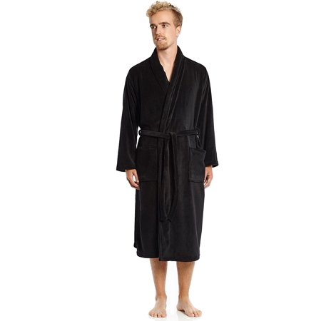Mens Black Robe (Mens Fleece Robe Black Size)