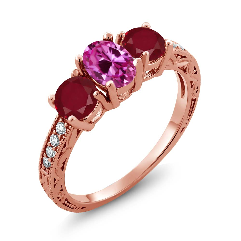 2.12 Ct Oval Pink Created Sapphire Red Ruby 18K Rose Gold Plated Silver Ring by