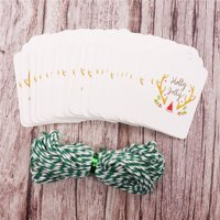 50pcs set Christmas DIY Gift Tags Coloured Drawing Hanging Tag Small Card Optional String DIY Craft Label Party Decor