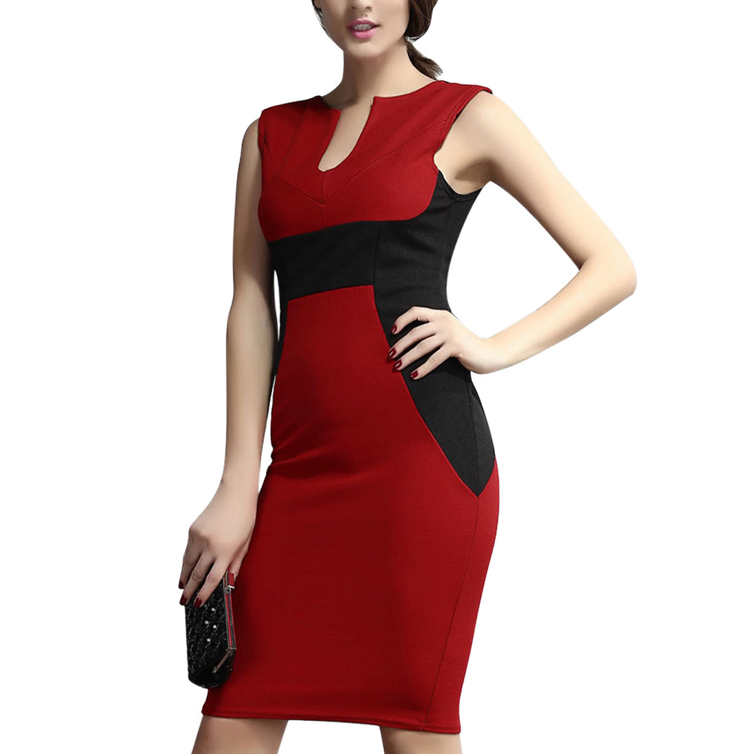 Women's Contrast Color Sheath Dress Red (Size M / 8)