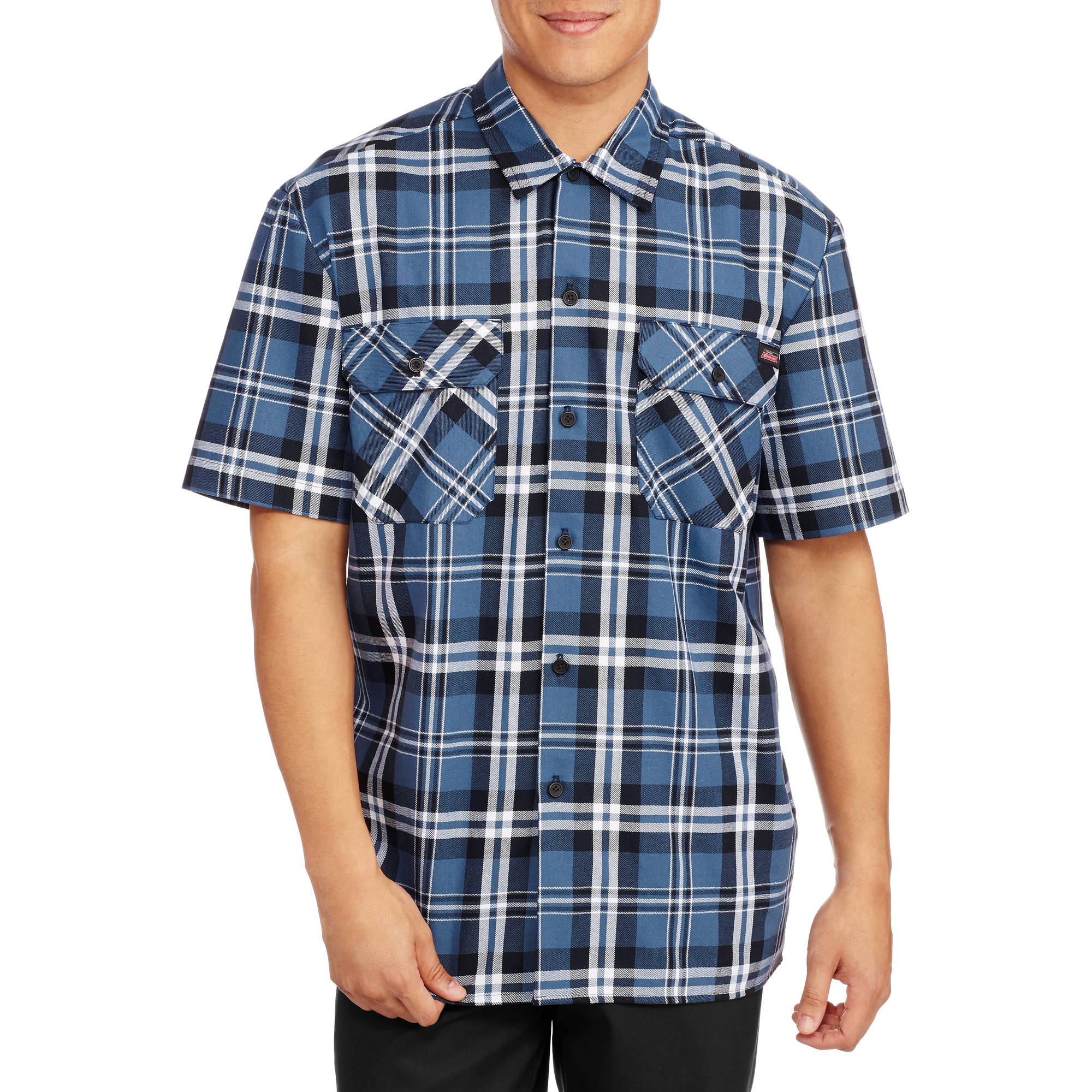 f1487ea16cda Dickies - Men s Short Sleeve Two Pocket Plaid Workshirt - Walmart.com