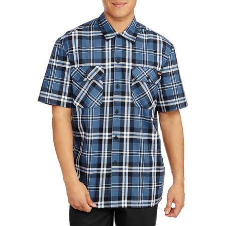 Dickies men 39 s short sleeve two pocket plaid workshirt for Dickies short sleeve plaid shirt