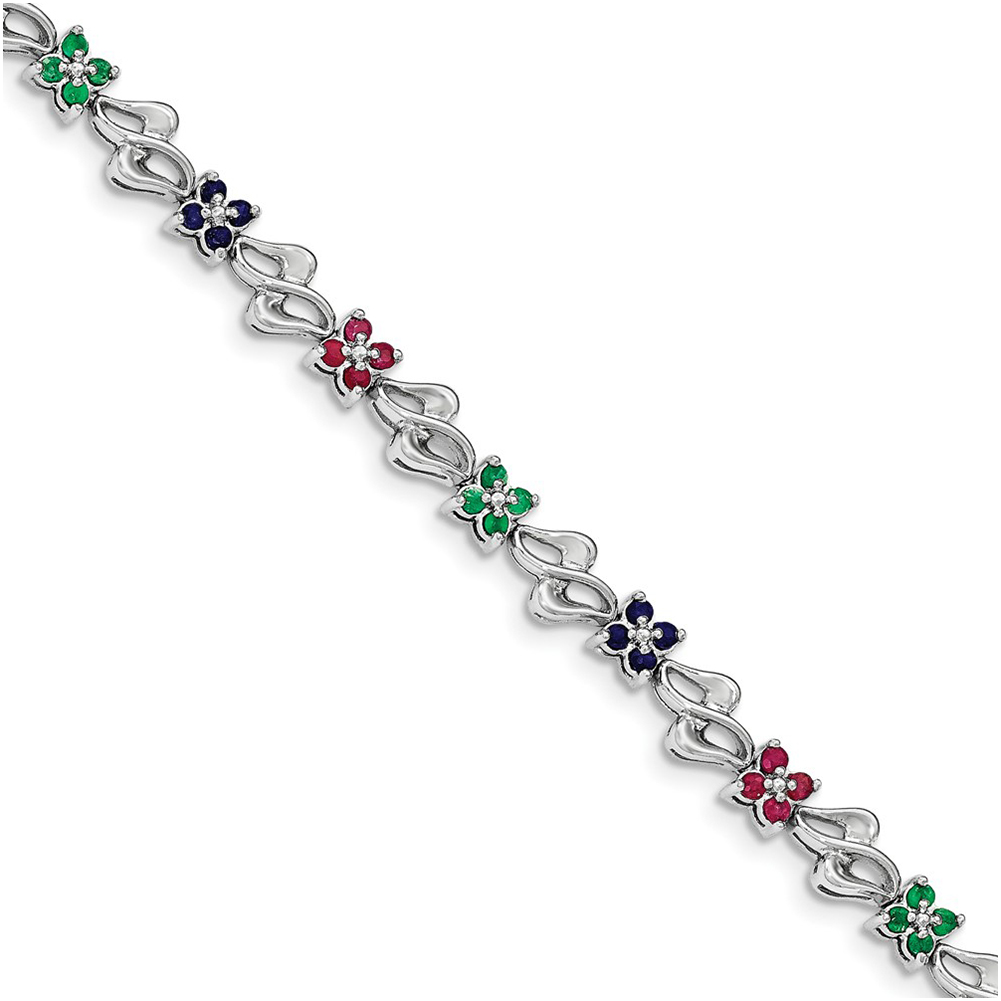 Sterling Silver & Sapphire, Ruby , Emerald Bracelet QX940M by