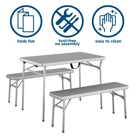 COSCO 4FT Aluminum Table and Bench Set, Gray