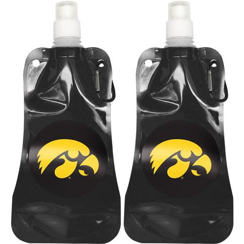 NCAA 16 oz Iowa Hawkeyes Foldable Water Bottle Set, 2pk