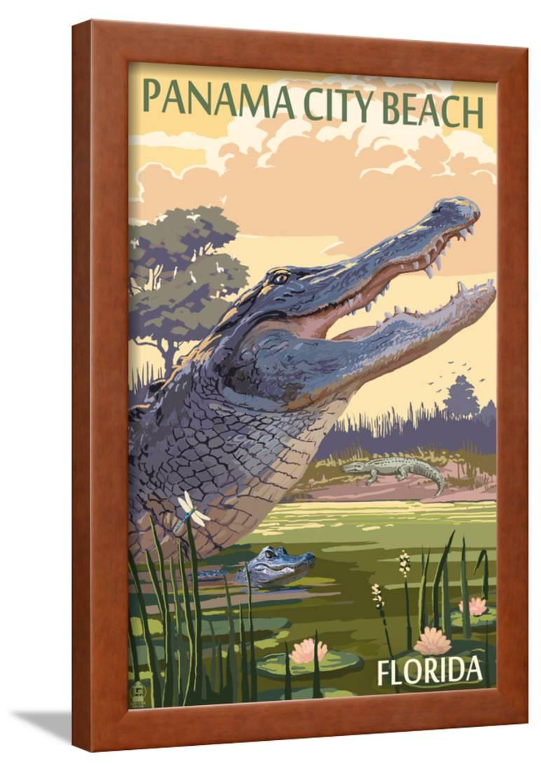 Panama City Beach Florida Alligator And Baby Framed Print Wall Art By Lantern Press