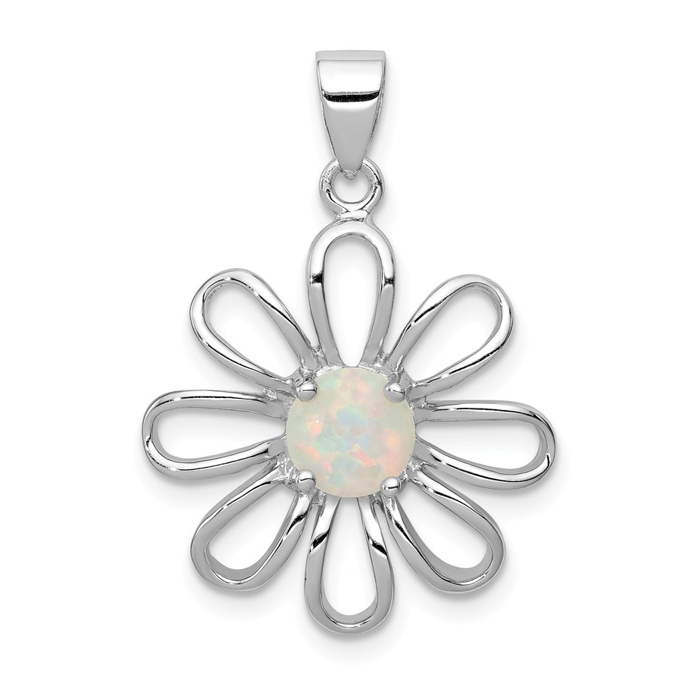 Sterling Silver Created Opal Daisy Slide