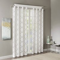 """Eden Fretwork Burnout Sheer Panel White 84"""" Panel, Stylish yet delicate, the Madison Park Eden Fretwork Sheer Curtain will update and soften any room. The lightweight.., By Madison Park"""