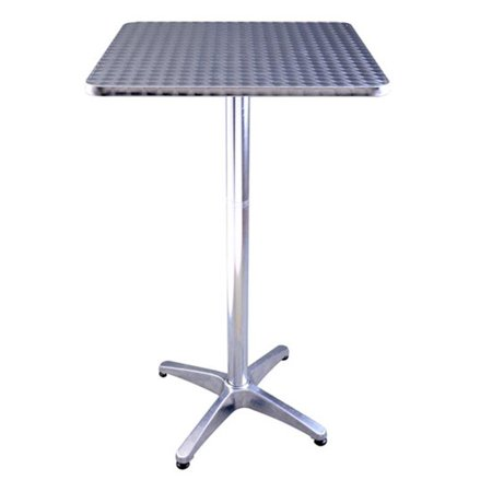 "24"" Adjustable Square Stainless Steel Top Aluminum Standing Bistro Bar (Steel Square Bar)"