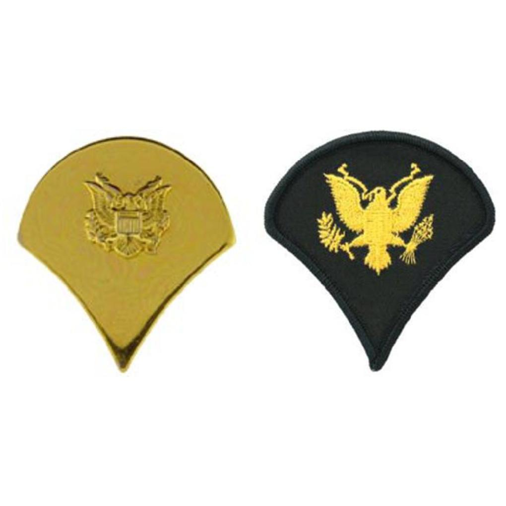 """U.S. Army Specialist E4 Pin Gold Plated 1"""" & Pair Dress Green Rank Patch 3"""" by"""