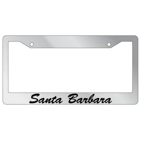 Santa Barbara Script Chrome Plastic License Plate Frame EBS Script License Plate Frame