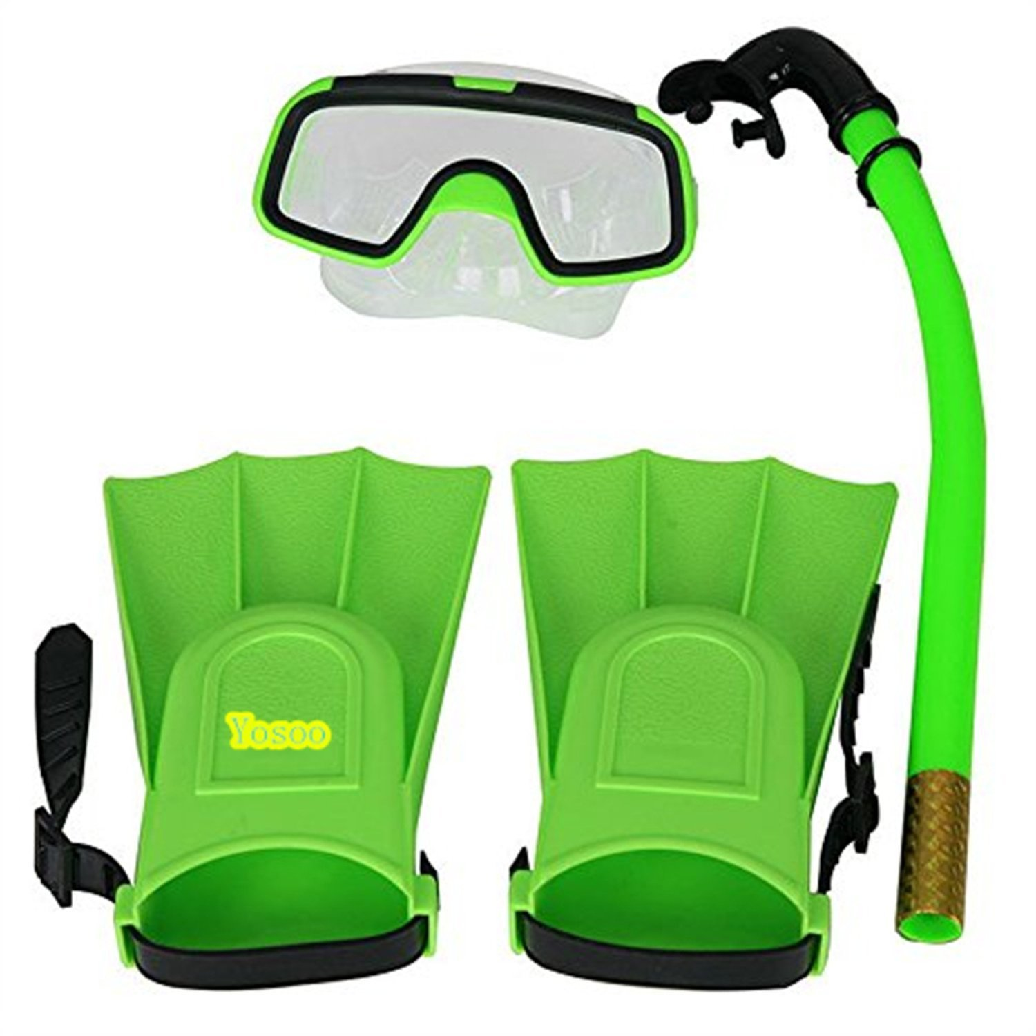 Children Kids Swimming Diving Silicone Fins +Snorkel Scuba Eyeglasses + Mask Snorkel Silicone Set for 8-12.5 US Foot Size