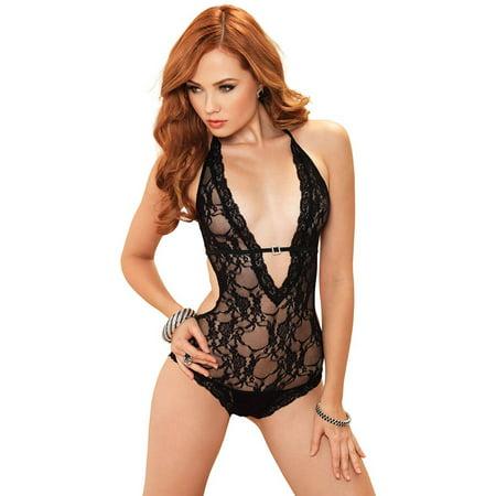 Leg Avenue Womens Teddy (Women's Sexy Stretch Lace Backless Teddy )