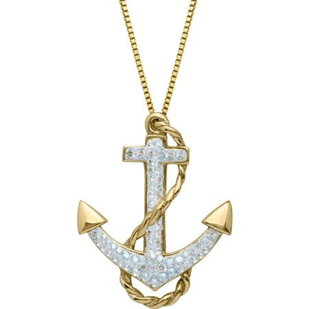 Luminesse white swarovski element gold over sterling silver anchor luminesse white swarovski element gold over sterling silver anchor pendant 18 aloadofball