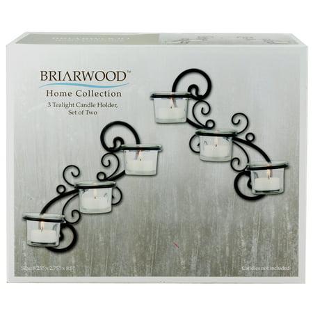 Stonebriar Collection Stonebriar Decorative Tea Light Candle Holder Wall Sconce Set, Black, Set of 2