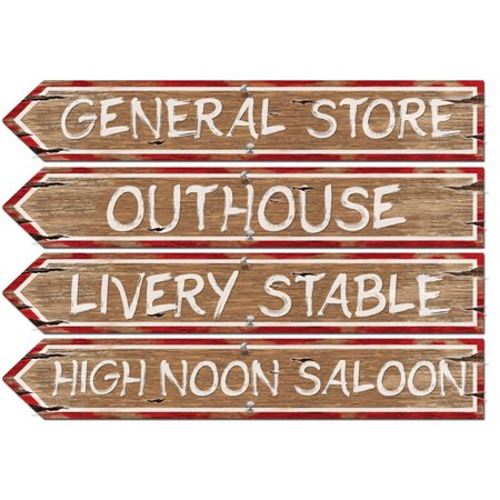 Old Western Street Signs Wall Cut Outs Poster Figurine Prop Set Decoration Cut Out Wall Decoration
