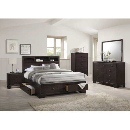 Modern Bedroom 4PCs Rich Wood Finish Storage Underbed Drawers Queen Size  Bed Frame W/Nightstand Dresser Mirror