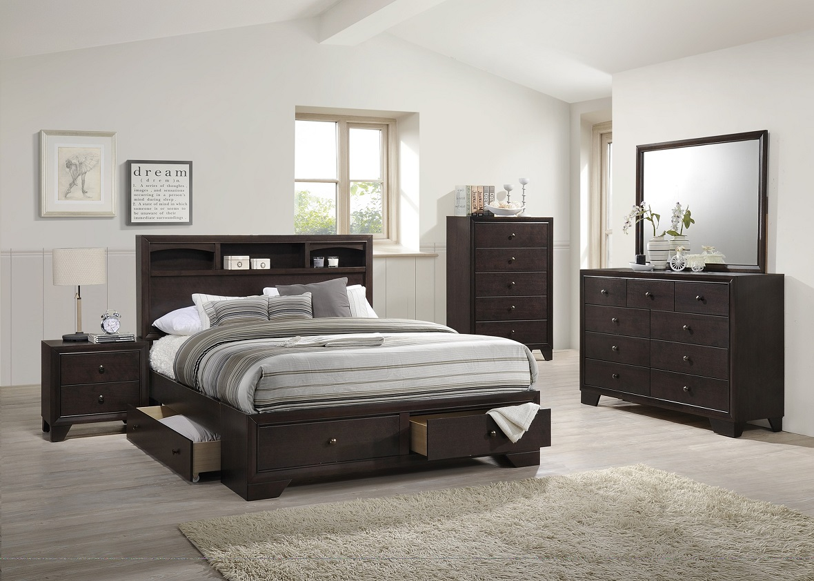 Modern Bedroom 4PCs Rich Wood Finish Storage Underbed Drawers Queen Size  Bed Frame W/Nightstand