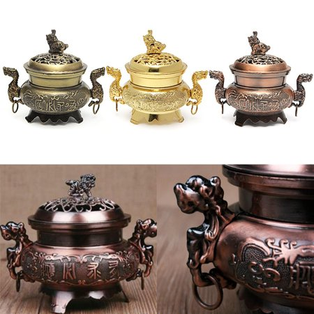 (Alloy Incense Burner Double Dragon Hollow Cover Censer Cone Holder Gift)