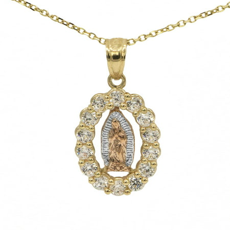 10k Tri Color Oval Cubic Zirconia Virgin Mary Guadalupe Religious Pendant Necklace with 16