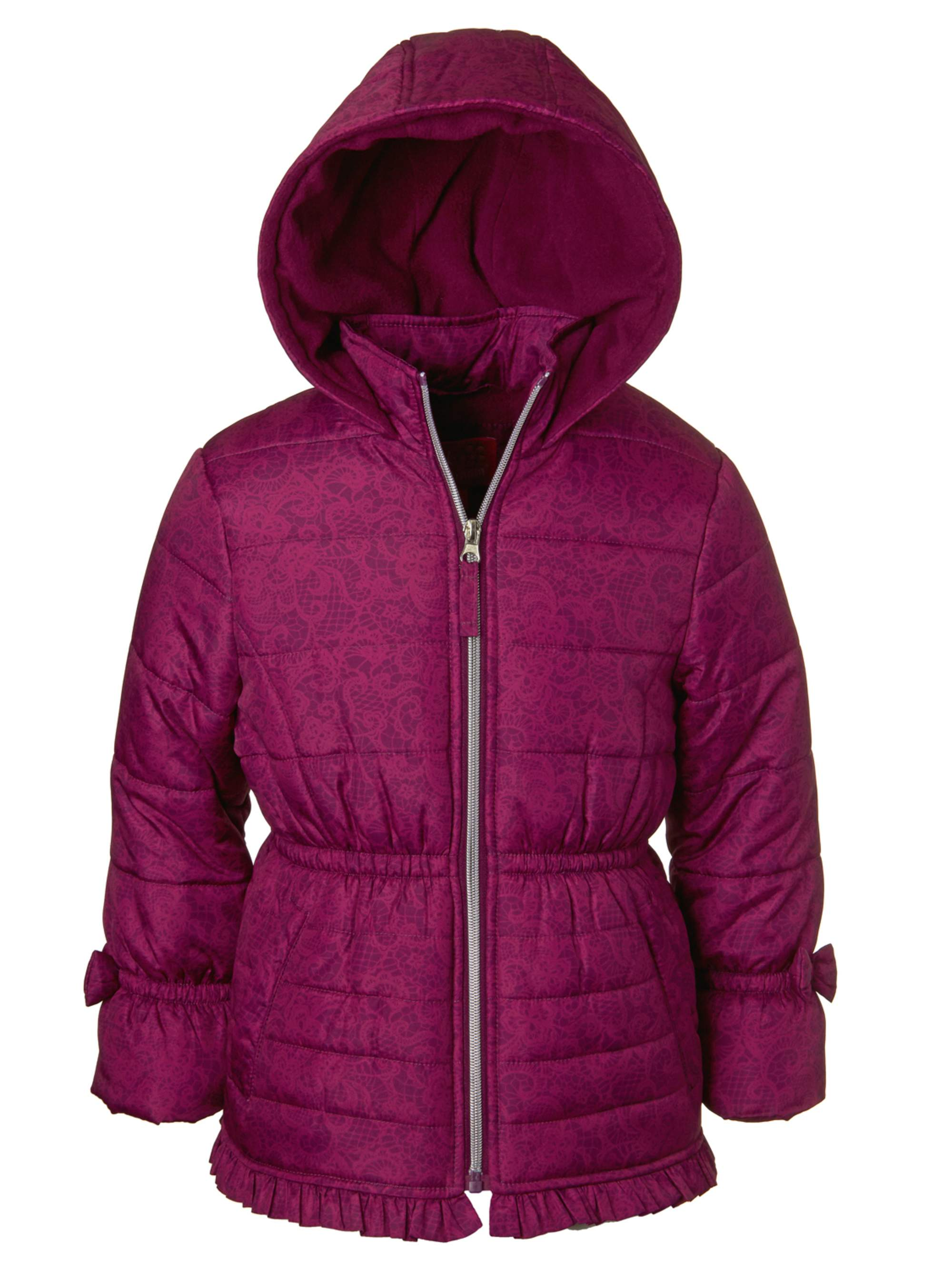 Pink Platinum Lace Print Bow Sleeve Puffer Jacket (Little Girls)