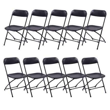 UBesGoo 10-Pack Folding Chair Plastic with Molded Seat and Back for Outdoors Black ()