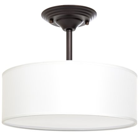 Best Choice Products 13in Semi-Flush Ceiling Mount 2-Bulb Pendant Light Fixture Chandelier for Kitchen, Living Room, Bedroom - Dark Brown