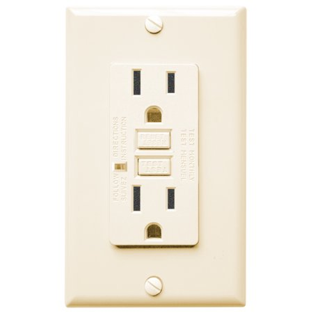 Four Bros Lighting GFCI/15/ALMOND/LED/2008 GFCI - Duplex Receptacle w/ LED 15 Amp - Almond