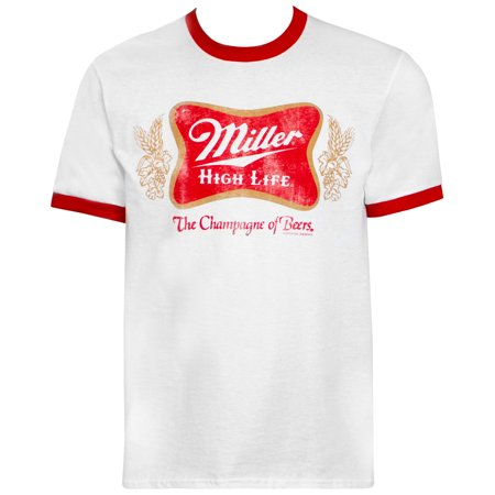 Miller High Life Logo White And Red Ringer Tee Shirt