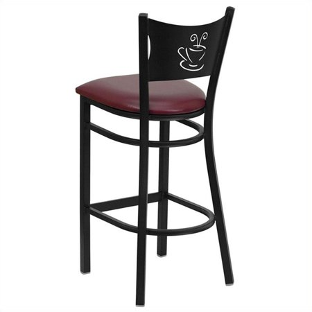 """Bowery Hill 31"""" Black Back Metal Bar Stool in Burgundy - image 1 of 3"""