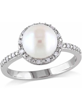 37a431ca0d9f7f Free shipping. Product Image 8-8.5mm White Button Cultured Freshwater Pearl  and Diamond Accent Sterling Silver Halo Ring