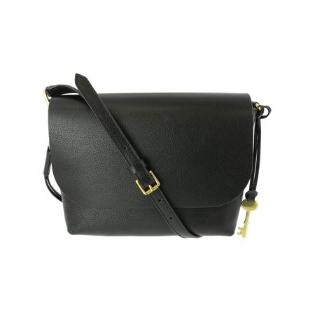 Black Leather Criss Cross (Fossil Women's Small Maya Crossbody Leather Cross Body Bag - Black )