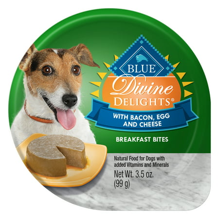 Blue Buffalo Divine Delights Natural Adult Small Breed Wet Dog Food, Bacon, Egg & Cheese Breakfast Bites, 3.5-oz trays, Case of 12