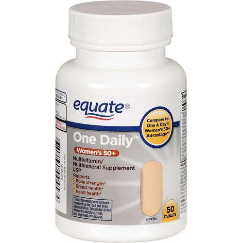 Equate Women's One Daily 50+ Multivitamin/Multimineral Supplement, 50ct
