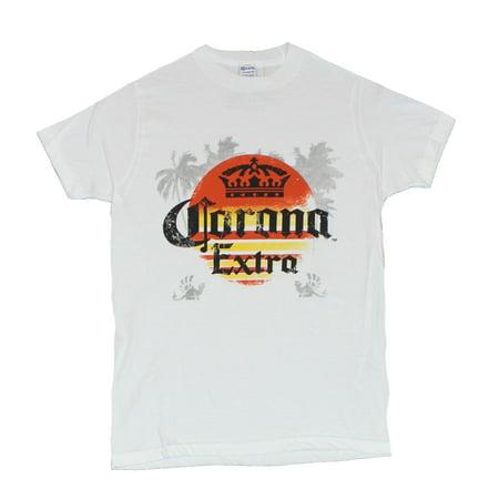 Corona Extra Mens T-Shirt -  Orange Yellow Logo Over Palm Tree Image (Small) ()