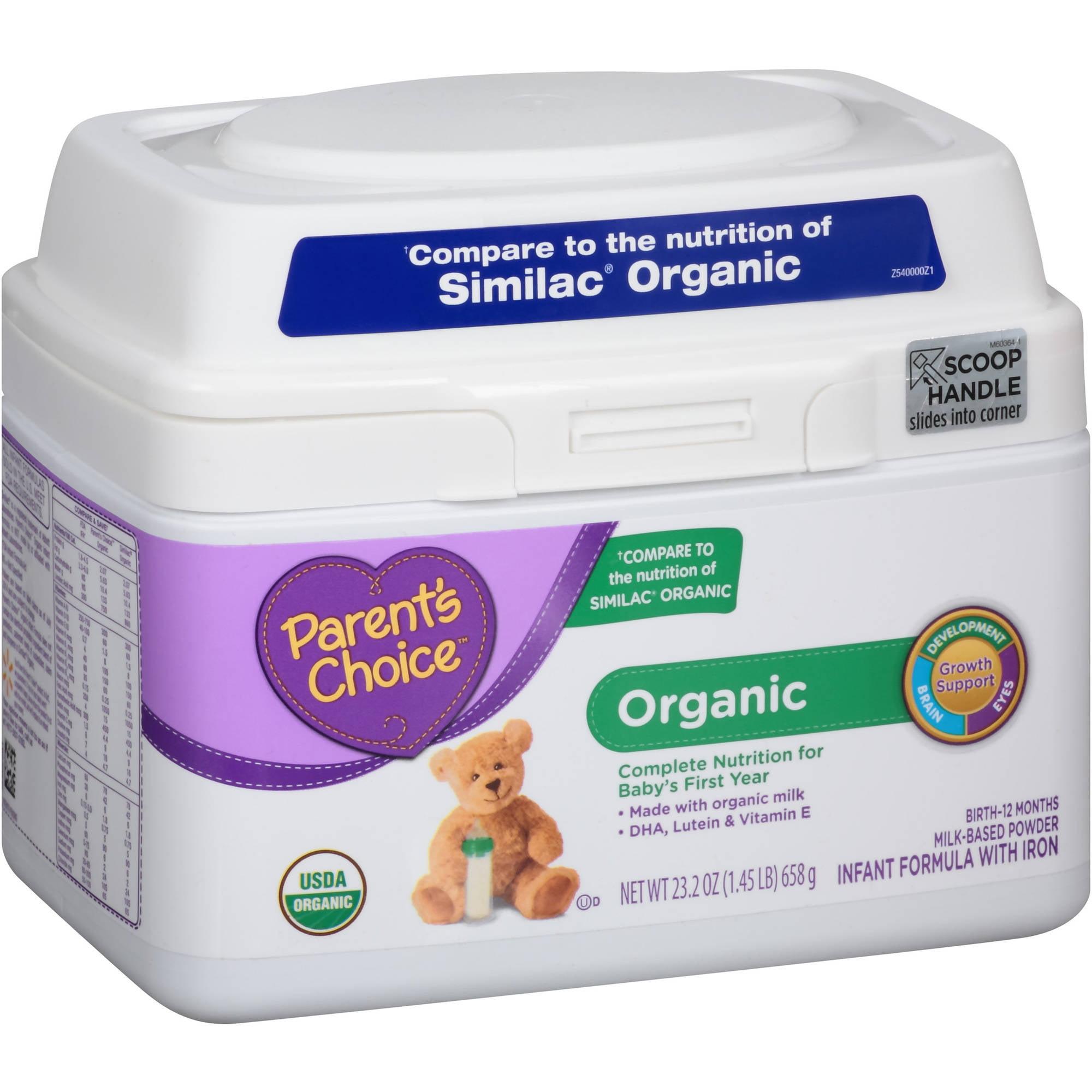 Parent's Choice Organic Milk-Based Powder Infant Formula with Iron, 23.2 oz, (Pack of 4)
