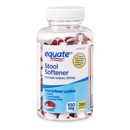 Equate Stool Softener Docusate Sodium Softgels, 100 mg, 280