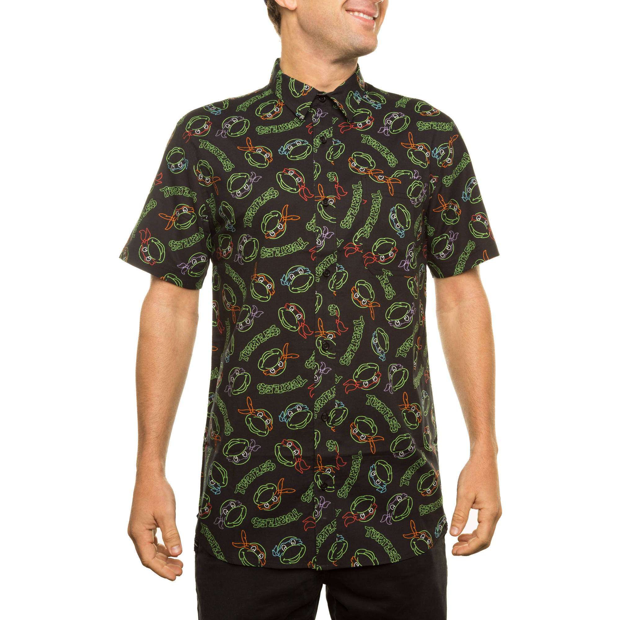 Teenage Mutant Ninja Turtles All Over Printed Men's SS Woven Shirt