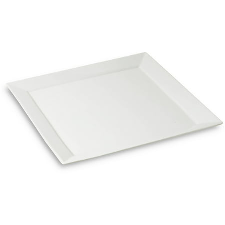 Honey Can Do 10.5-Inch Porcelain Square Dinner Plate, White ()