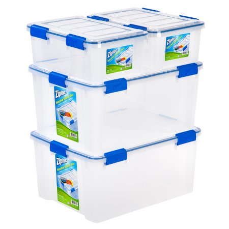 Ziploc 16 and 60 Quart WeatherShield Storage Box, 4 Pack, (Wheel Storage Bag)