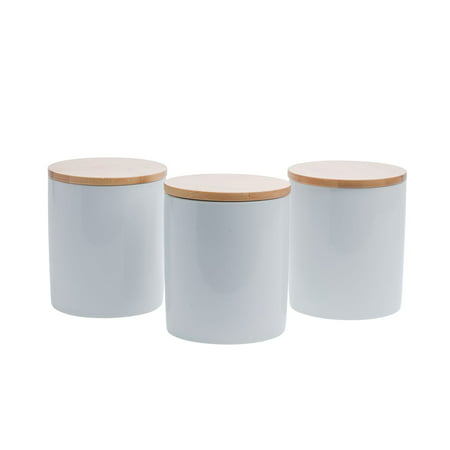 Tabletops Unlimited, Inc Set of 3 Bamboo & Ceramic Canister Set - White ()