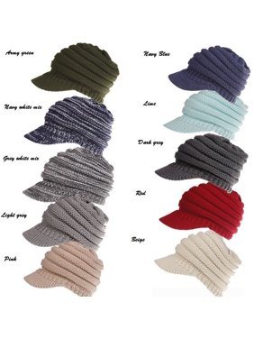 US Women Stretch Knit Hat Messy Bun Ponytail Beanie Winter Warm Knitted Hole Cap