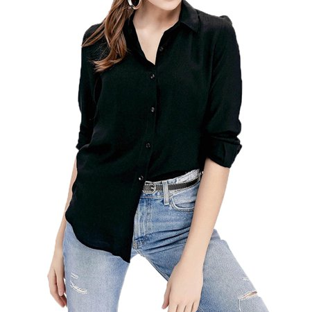 DYMADE Women's V Neck Long Sleeve Solid Color Button Down Tops Regular Fit Tunic Blouses