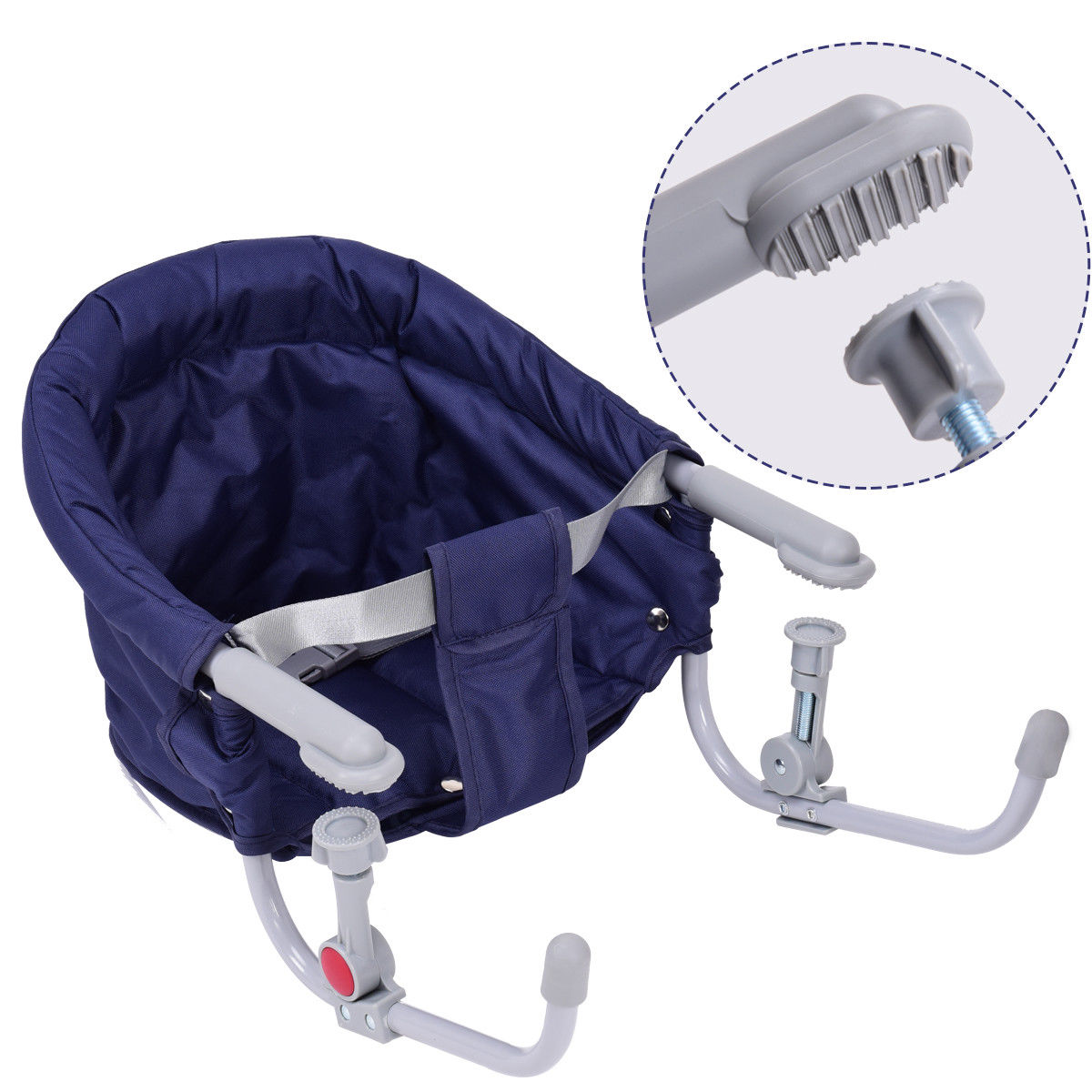 Gymax Blue Foldable Baby Hook On Chair Booster Fast Table Chair Portable Carrying Bag