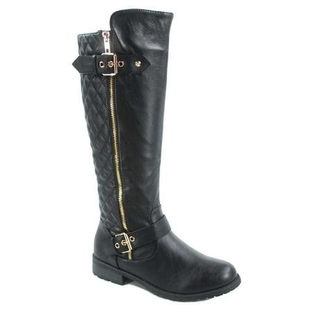 Brown Suede High Heel - Mango-21 Women's Buckle Quilted Zipper Round Toe Knee High Low Heel Boots